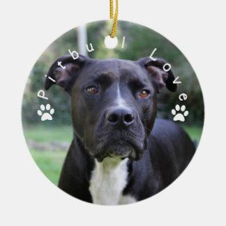 Pitbull Love Custom Picture Round Ceramic Ornament