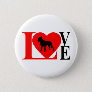 PITBULL LOVE RED AND BLACK 2 INCH ROUND BUTTON
