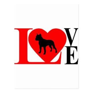 PITBULL LOVE RED AND BLACK POSTCARD