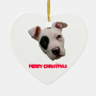 Pitbull Merry Christmas Ceramic Heart Ornament