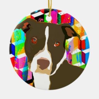 Pitbull Portrait Pop Art Round Ceramic Ornament