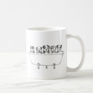 Pitbull Puppies In the Tub - Illustration Coffee Mug