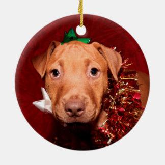 Pitbull puppy Christmas Ceramic Ornament