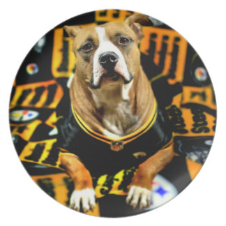 Pitbull Rescue Dog Football Fanatic Plate