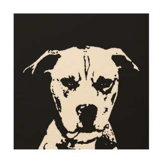 "Pitbull Stencil Wood 12""x12"" Wall Art"