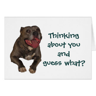 Pitbull Thinking About You Greeting Card