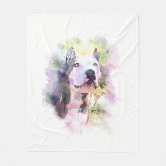 Pitbull Water Color Fleece Blanket