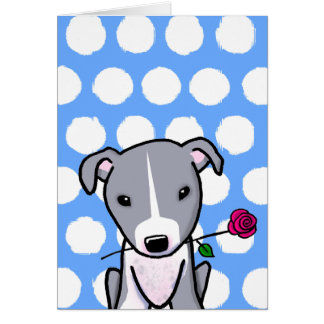 Pitbull With Flower Card