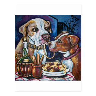 pitbulls and spaghetti postcard