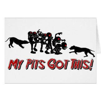Pitbulls vs. Zombies Funny Logo Design Card