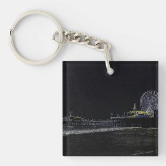 Pitch Black Neon Santa Monica Pier Keychain
