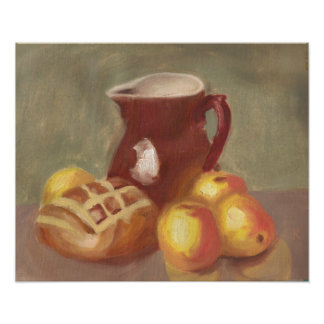 Pitcher, Bread and Fruit Poster