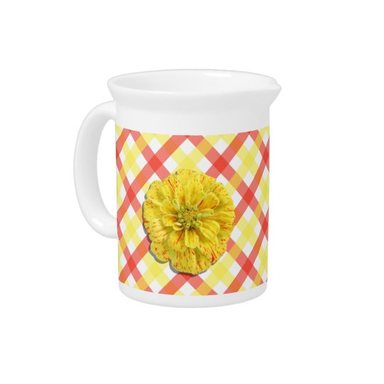 Pitcher - Candy Stripe Zinnia on Lattice
