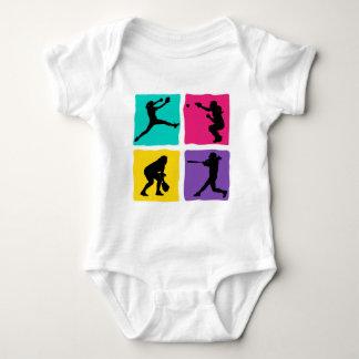 pitcher, catcher, batter, fielder, 4xbright baby bodysuit