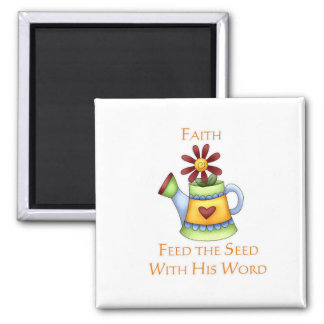 Pitcher of Faith Square Magnet