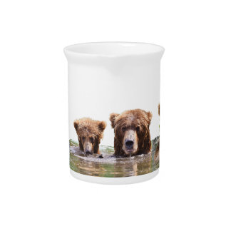 Pitcher w/ grizzly bear and cubs