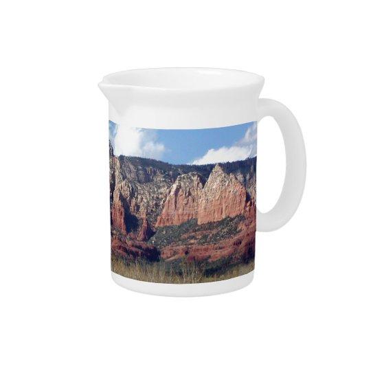 pitcher with photo of Arizona red rocks