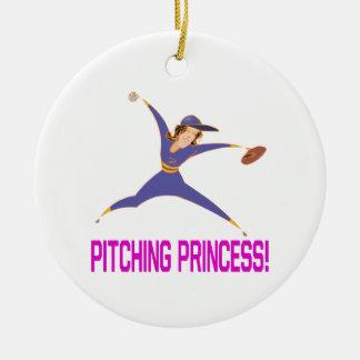 Pitching Princess Round Ceramic Ornament