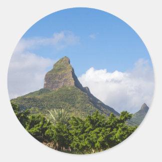 Piton de la Petite mountain in Mauritius panoramic Classic Round Sticker