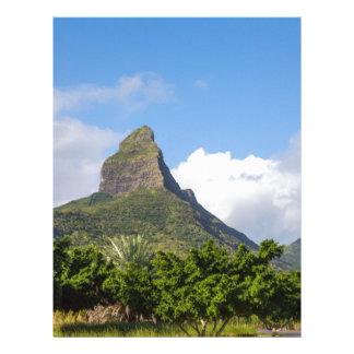 Piton de la Petite mountain in Mauritius panoramic Letterhead