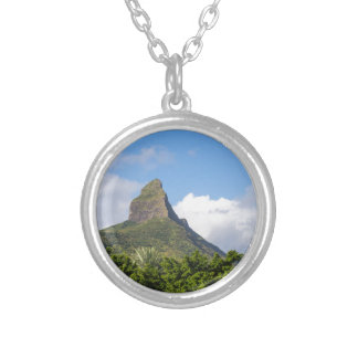 Piton de la Petite mountain in Mauritius panoramic Silver Plated Necklace
