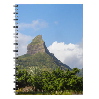 Piton de la Petite mountain in Mauritius panoramic Spiral Notebook