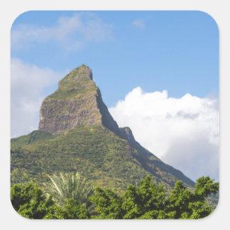 Piton de la Petite mountain in Mauritius panoramic Square Sticker