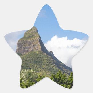 Piton de la Petite mountain in Mauritius panoramic Star Sticker