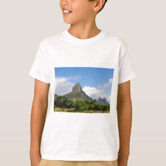 Piton de la Petite mountain in Mauritius panoramic T-Shirt