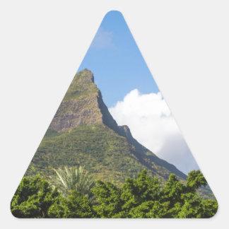 Piton de la Petite mountain in Mauritius panoramic Triangle Sticker