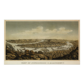 Pitsburgh birdseye map - 1874 (Krebs) BigMapBlog Poster