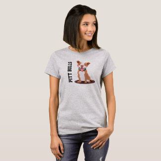Pitt Bull Illustration Laughing Cute T-Shirt