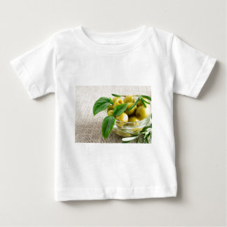 Pitted olives with green leaves and rosemary baby T-Shirt