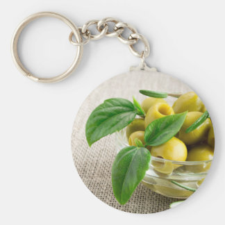 Pitted olives with green leaves and rosemary basic round button keychain