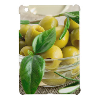 Pitted olives with green leaves and rosemary iPad mini case