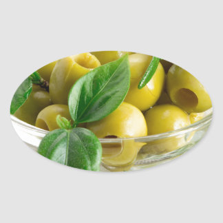 Pitted olives with green leaves and rosemary oval sticker