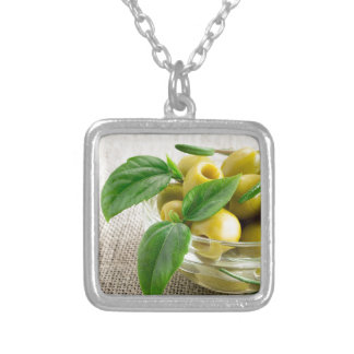 Pitted olives with green leaves and rosemary silver plated necklace