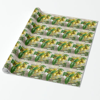 Pitted olives with green leaves and rosemary wrapping paper