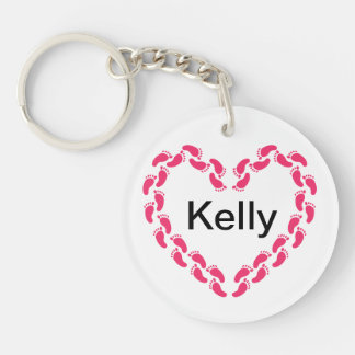 Pitter patter of little feet foot prints keychain