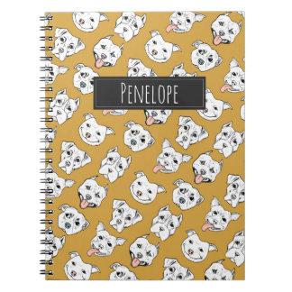 """""""Pittie Pittie Please!"""" 2 Dog Pattern   Monogram Notebook"""