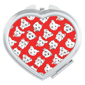 """""""Pittie Pittie Please!"""" Dog Drawing Pattern Compact Mirrors"""