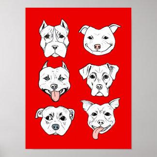 """Pittie Pittie Please!"" Dog Drawing Pattern Poster"