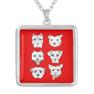 """Pittie Pittie Please!"" Dog Drawing Pattern Silver Plated Necklace"