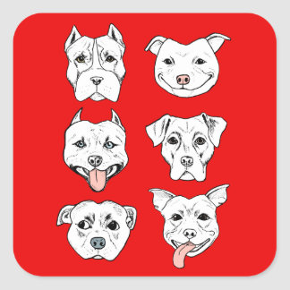 """Pittie Pittie Please!"" Dog Drawing Pattern Square Sticker"