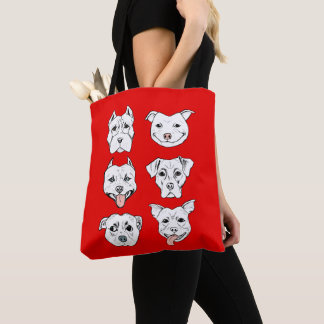 """Pittie Pittie Please!"" Dog Drawing Pattern Tote Bag"