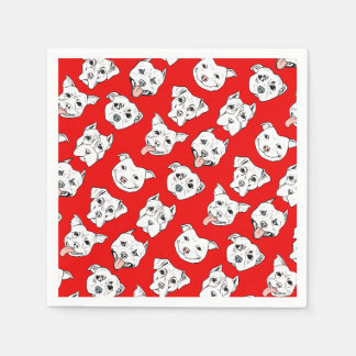 """Pittie Pittie Please!"" Dog Illustration Pattern Disposable Napkins"