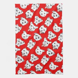"""Pittie Pittie Please!"" Dog Illustration Pattern Kitchen Towel"