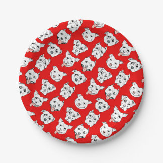 """Pittie Pittie Please!"" Dog Illustration Pattern Paper Plate"