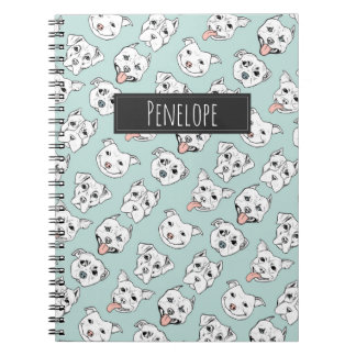 Pittie Pittie Please! Dog Pattern | Add Your Name Notebooks