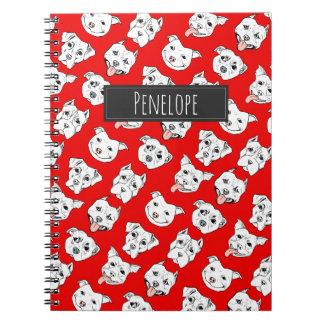"""Pittie Pittie Please"" Dog Pattern   Add Your Name Spiral Notebook"